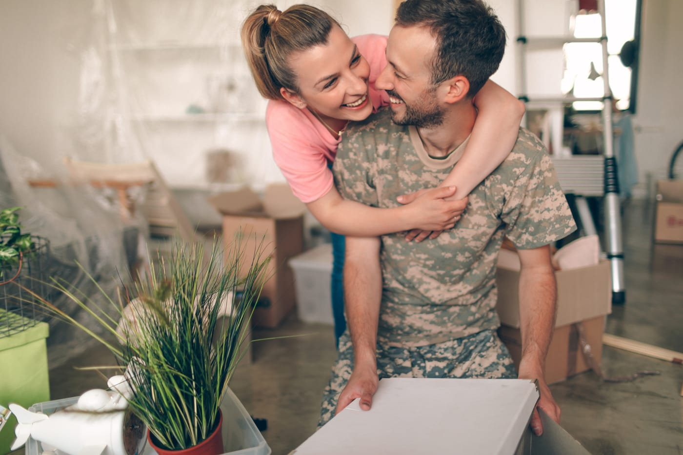 Military couple in new home